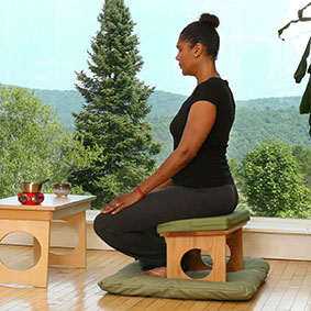 Tall Cloud Meditation Bench - Shown here with a Puja or Practice Table