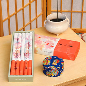 Box of Shoyeido Autumn Leaves - Shown with Shoyeido Ceramic Burner
