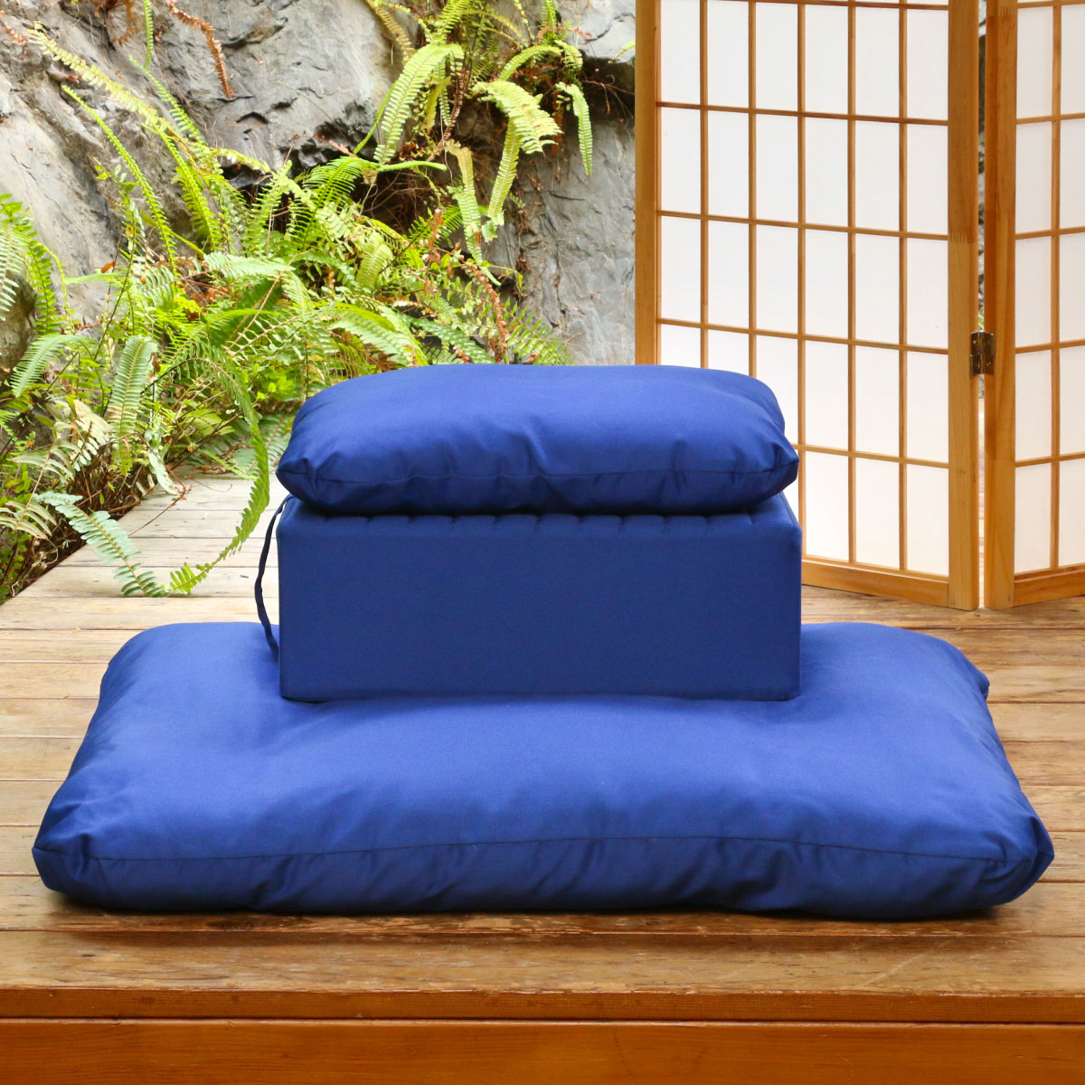 Select a Gomden Meditation Cushion Set with Gomden Support Pillow in Royal Blue