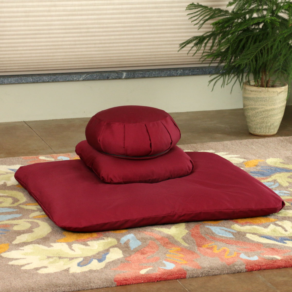 Choose a Buckwheat Zafu Zabuton Set with Support Pillow in Burgundy