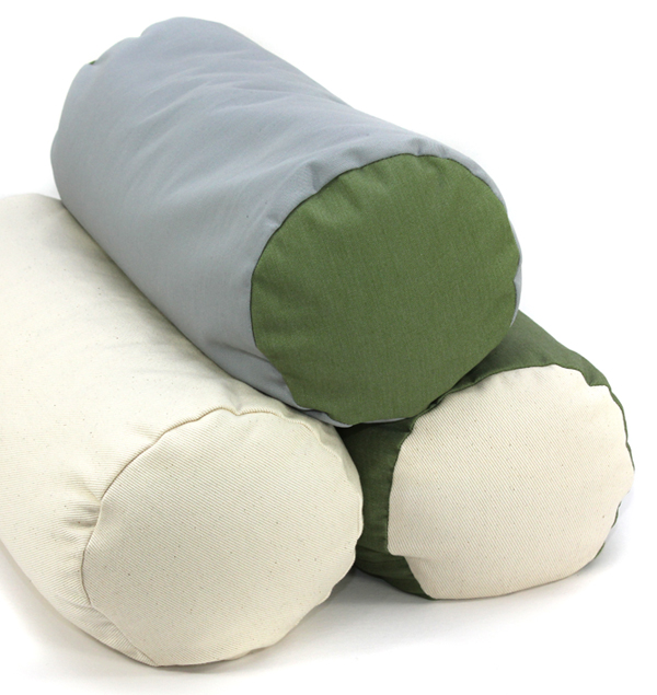 Bolster Meditation Cushions in Organic Fabric with Buckwheat Fill