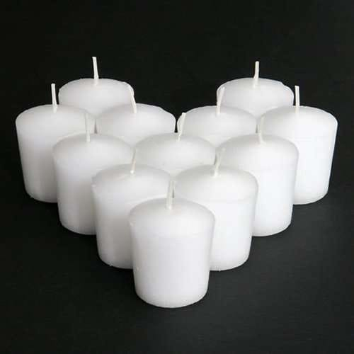 Unscented Votive Candle, White, One Dozen