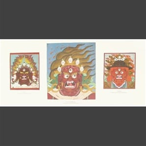 "Three Protectors  10"" X 22"" Print ~ Original Paintings by Chogyam Trungpa, Rinpoche"