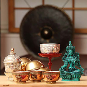 Meditation Altar Supplies - Offering Altar Bowls, Rupas, Altar Pedestal for your home altar
