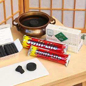 Swift Lite and Shoyeido Incense Charcoal Tablets and Swift Lite Charcoal Disks for Burning Incense