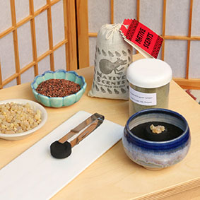 Powder and Resin Incense - Swift-Lite Charcoal, tweezers, frankincense, incense burner with black sand, rendai-koh, juniper, sage and cedar
