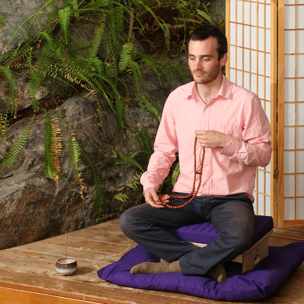 Choose A Low Cloud Meditation Bench Set in Natural with Purple Cloud Bench Cushion and Purple Zabuton