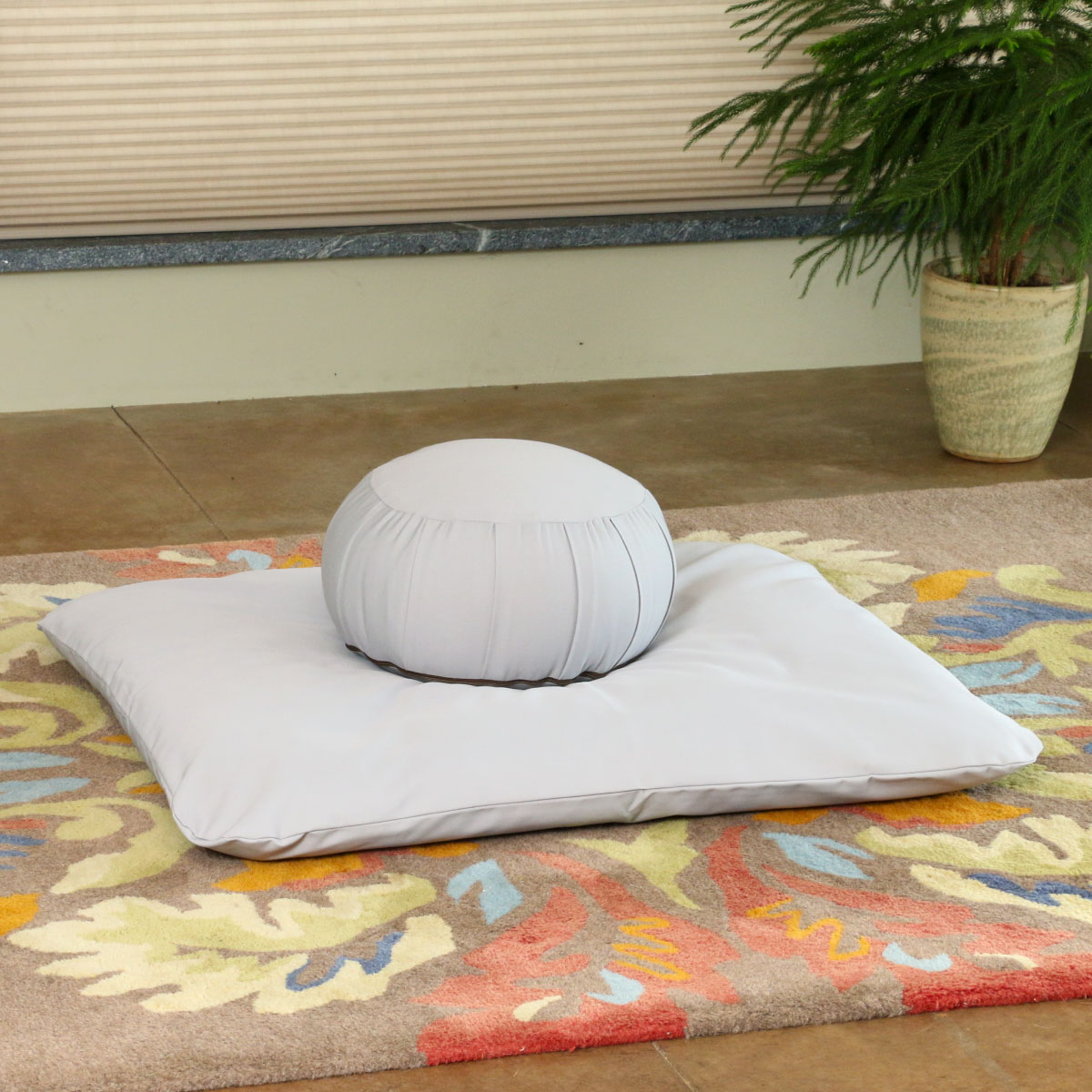Zabuton Mat shown here with a Kapok Zafu in ECO Gray Fabric Meditation Cushion Covers