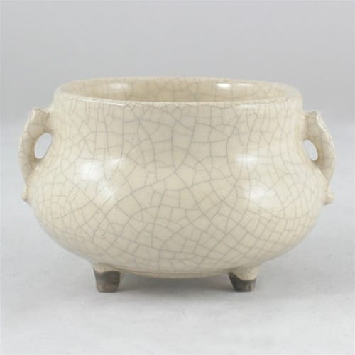 Ceramic Incense Holder (Moonlight White Crackle-Glazed)